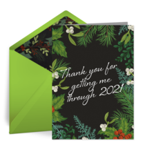 Holly Thank You card image