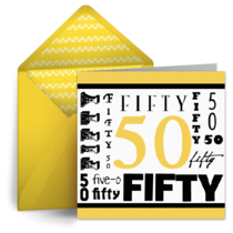 Wordy 50th Birthday card image