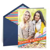 Colorful Birthday Strings Photo card image
