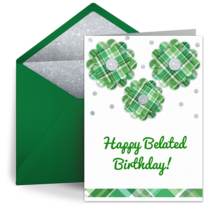 Belated Green Flowers card image