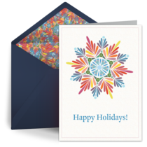 Colored Holiday Snowflake card image