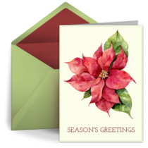 Poinsettia Watercolor card image
