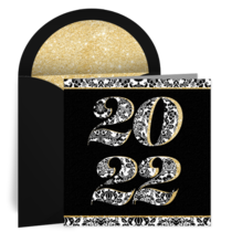 Black and White Damask card image