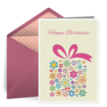Flower Birthday Present card image