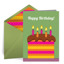 Striped Birthday Cake card image