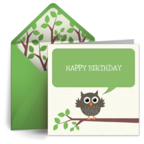 Brown Birthday Owl card image