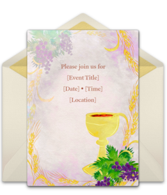 photograph relating to First Communion Invitations Free Printable called Totally free 1st Communion On-line Invites Punchbowl