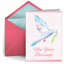 New Year Dove card image