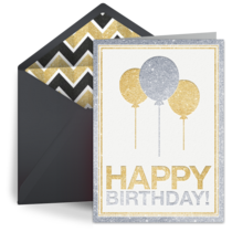 Silver & Gold Birthday card image