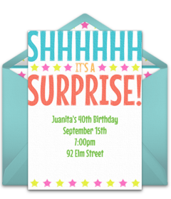 Free surprise birthday party online invitations punchbowl bright surprise stopboris