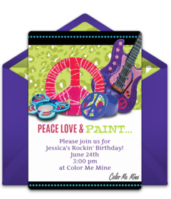 Color Me Mine Online Invitations