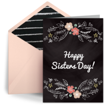 Sisters Floral Doodle card image