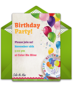 Color Me Mine Online Invitations Punchbowl