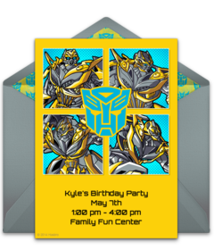 picture relating to Transformer Birthday Invitations Printable Free identify Cost-free Transformers On the web Invites Punchbowl