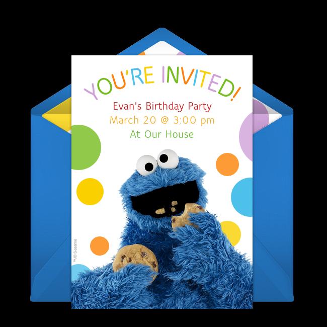 Free cookie monster online invitation punchbowl cookie monster online invitation filmwisefo