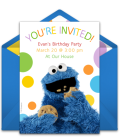 Free sesame street online invitations punchbowl cookie monster filmwisefo Gallery