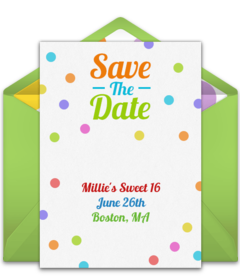 Free birthday save the dates online punchbowl save the date dots free pronofoot35fo Image collections