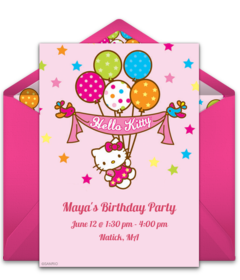 Free Hello Kitty Online Invitations Punchbowl - Free hello kitty birthday invitation templates
