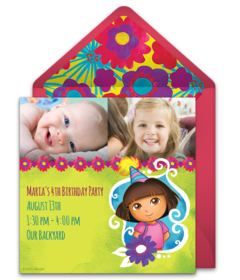 Free dora the explorer online invitations punchbowl dora birthday photo filmwisefo