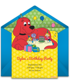 Brilliant Free Clifford The Big Red Dog Online Invitations Punchbowl Personalised Birthday Cards Petedlily Jamesorg