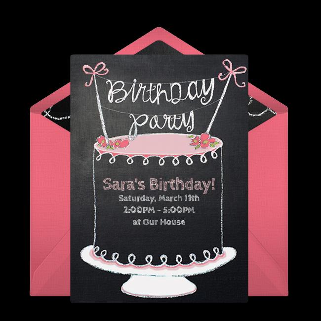 Free chalkboard birthday cake online invitation punchbowl chalkboard birthday cake online invitation stopboris Gallery