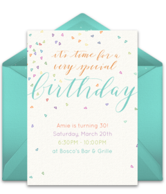 Plus Colorful Confetti Blue Disney Online Invitations