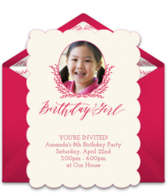 Free girl birthday party online invitations punchbowl birthday girl photo stopboris Choice Image