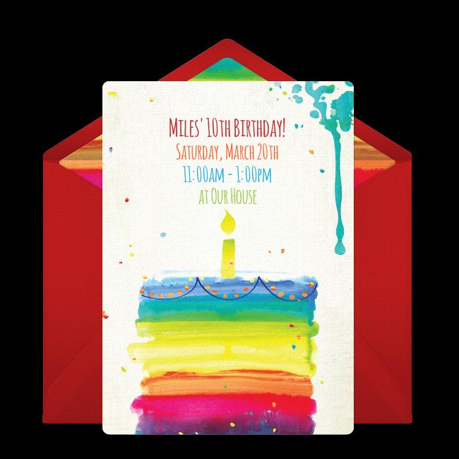 Free rainbow birthday cake online invitation punchbowl rainbow birthday cake online invitation filmwisefo Images