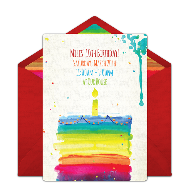 Free rainbow birthday cake online invitation punchbowl rainbow birthday cake online invitation filmwisefo Images