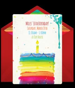 Free girl birthday party online invitations punchbowl rainbow birthday cake stopboris Image collections