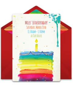 Free girl birthday party online invitations punchbowl rainbow birthday cake disney online invitations stopboris Gallery