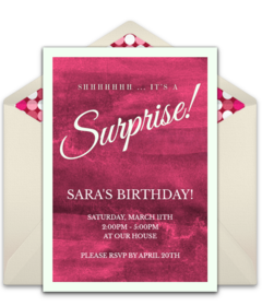 Free surprise birthday party online invitations punchbowl surprise filmwisefo Image collections