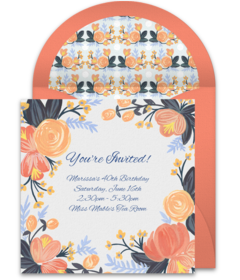 Plus. Peach Blossoms. Free  Free Engagement Invitations