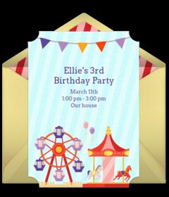 Free 1st birthday online invitations punchbowl carnival stopboris Choice Image