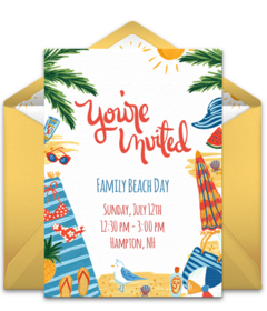 picture about Beach Party Invitations Free Printable called Absolutely free Summer season Celebration On the web Invites Punchbowl