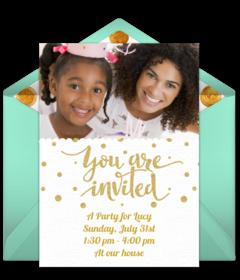 Gold Dots Photo Disney Online Invitations