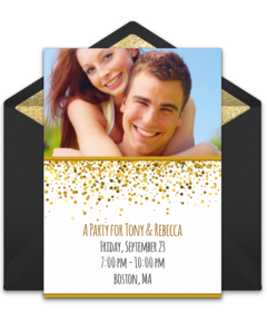 Free bridal shower online invitations punchbowl gold glitter photo filmwisefo