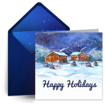 Starry Peaceful Village card image