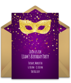 photograph regarding Free Printable Mardi Gras Invitations named Cost-free Mardi Gras On the internet Invites Punchbowl
