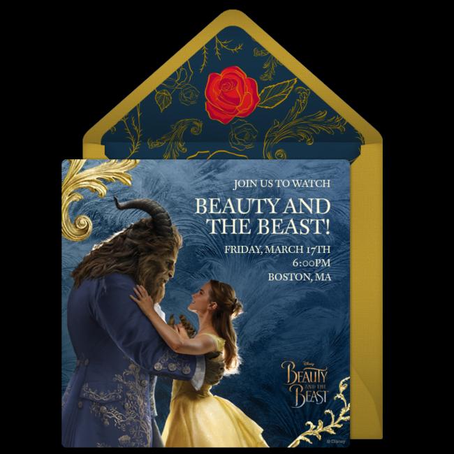 31ac4f39da4 Free Beauty and the Beast Online Invitation - Punchbowl.com