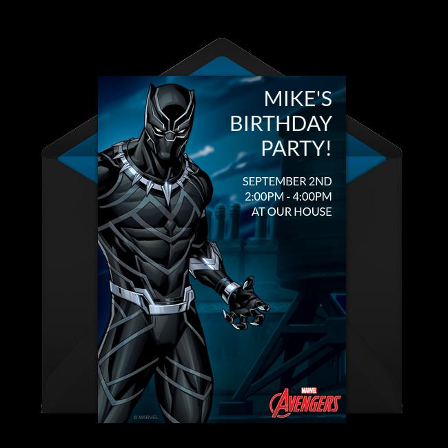Avengers Black Panther Online Invitation