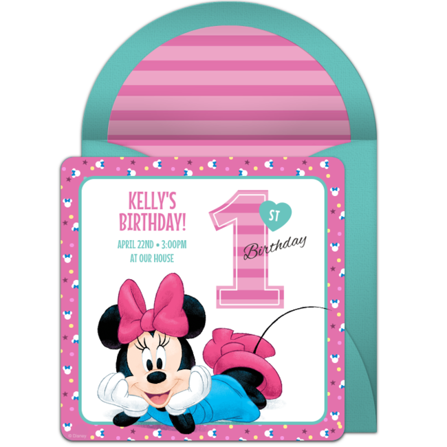 Free Minnie Mouse 1st Online Invitation Punchbowlcom