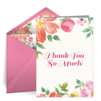 Watercolor Bouquet Thank You card image