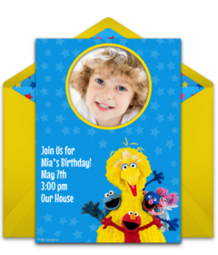 Sesame Street Group Photo Disney Online Invitations