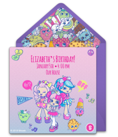 photograph regarding Free Printable Shopkins Invitations identified as No cost Shopkins On the web Invites Punchbowl