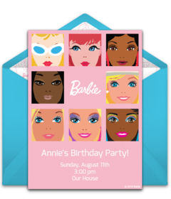 Free Barbie Online Invitations