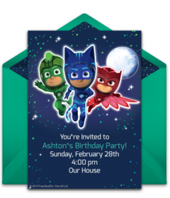 photo relating to Pj Mask Printable Template identified as Free of charge PJ Masks On the web Invites Punchbowl