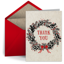 Rustic Thank You Wreath card image