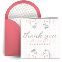 Thank You Helping Hands card image