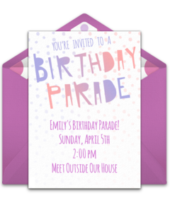 Free Birthday Parade Online Invitations Punchbowl